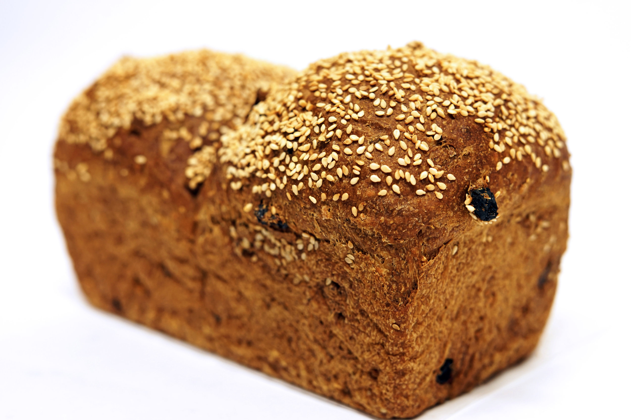 3 Seed Raisin Walnut - Whole wheat and unbleached flour with California raisins and walnuts. Used for our popular turkey sandwich.*Monday to Saturday