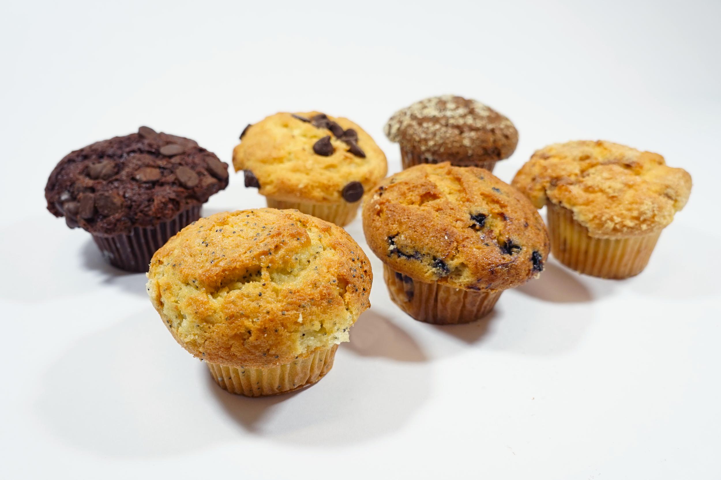 Muffin - Molasses Bran, Lemon Poppy-seed, Blueberry, Chocolate Chip, Double Chocolate Chip, Cinnamon Chip, Cherry Almond