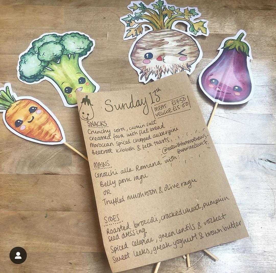 sample WasteNotWantNot menu - changes weekly