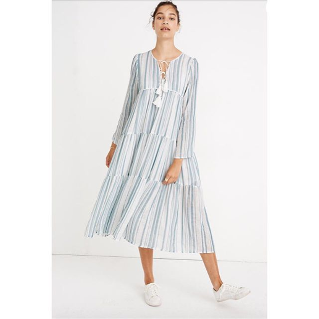 • Love it ❤️✂️ Make It • • ❤️ Madewell X Christy Dawn Striped Paloma Dress • ✂️ Vintage McCalls 6319 • #mccallspatterns #mccalls #dressmaker #sew #sewingpatterns #sewsewsew #learntosew #sewthelook #instasew