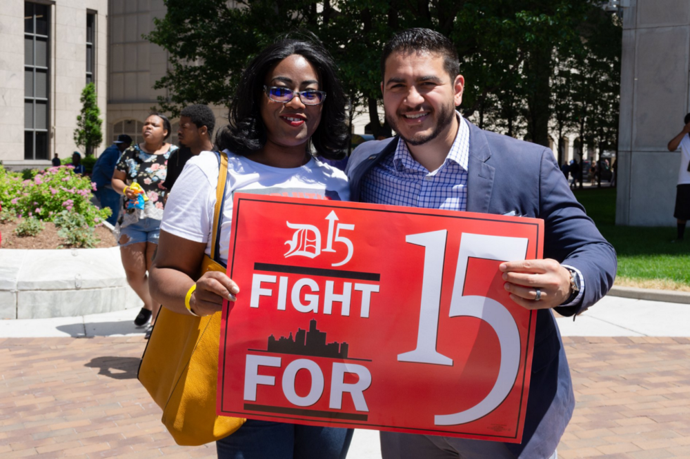 Abdul El-Sayed, candidate for Governor of Michigan showing support for the Fight for 15 Movement.