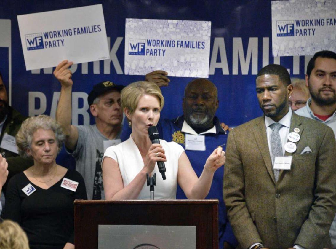 Cynthia Nixon accepting the NY WFP endorsement in Albany, April 14, 2018