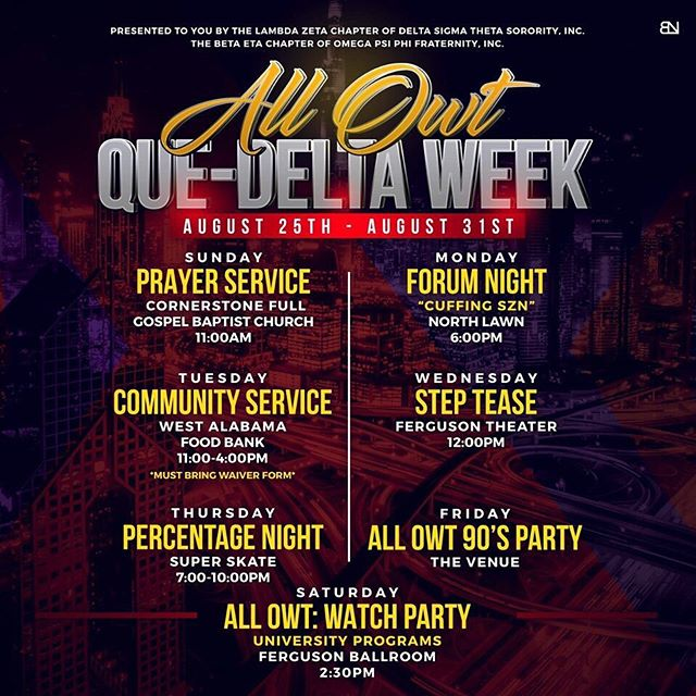 Join the Beta Eta Chapter of Omega Psi Phi Fraternity, Inc. and the Lambda Zeta Chapter of Delta Sigma Theta Sorority, Inc. for a week of service and fun! ✨You don't want to miss it! ❤️💜