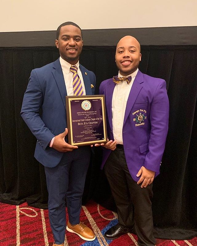 Congratulations to the Beta Eta Chapter of Omega Psi Phi Fraternity, Inc. for being honored and recognized as the International Undergraduate Chapter of the Year for the 2nd year in a row! Thank you for all of your commitment to the community, @betaetaques1911 🏆.