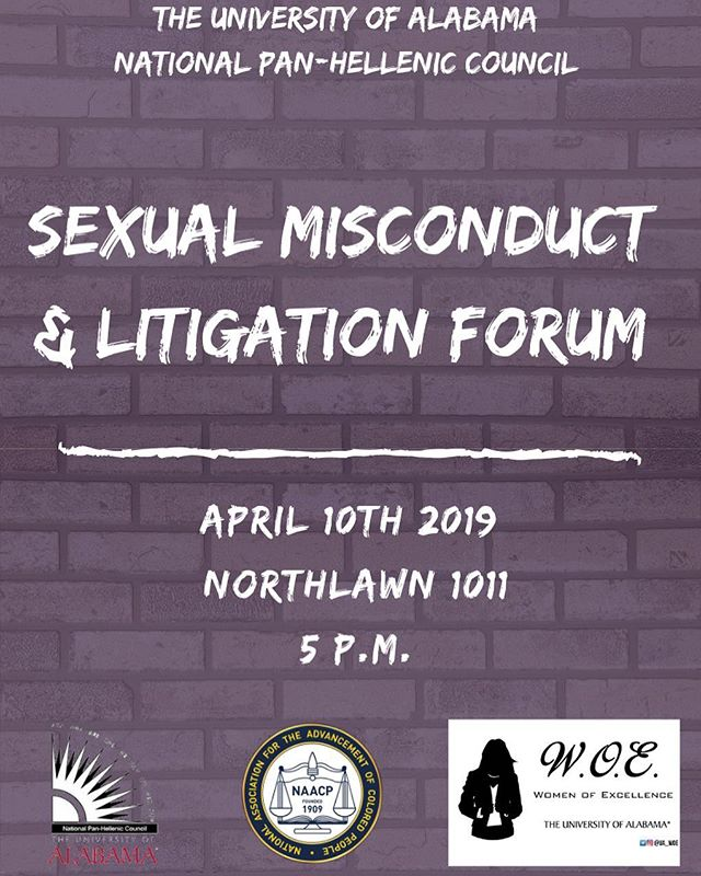 UA NPHC alongside WOE and UA NAACP will be hosting a Sexual Misconduct & Litigation Forum this upcoming Wednesday! We look forward to seeing everyone!