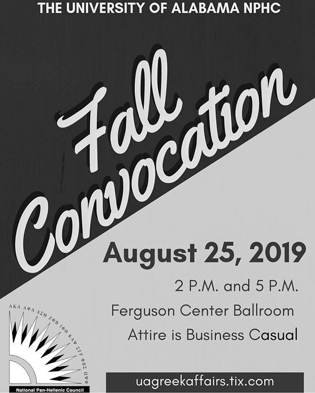 Time is flying by! Convocation is set for THIS Sunday 😨. The link to purchase tickets is available in our bio. Tickets for entry will not be available at the door, so please ensure you purchase it beforehand. Convocation is REQUIRED for anyone interested in NPHC Greek Life. Hope to see you soon ✅ #UA23 #UA22 #UA21 #UA20