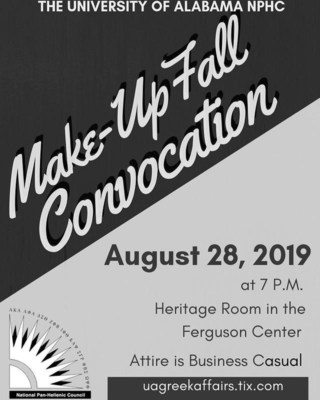 Make-Up Convocation will be this Wednesday at 7PM. Purchase your tickets with the link posted below.  https://uagreekaffairs.tix.com/m/Event.aspx?EventCode=1151842