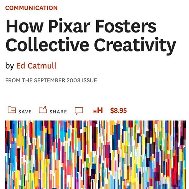 "Oldie but goodie: @HarvardBiz on C R E A T I V I T Y - ""How Pixar Fosters Collective Creativity"" https://hbr.org/2008/09/how-pixar-fosters-collective-creativity  Love the idea of ""the dailies"" - how might teachers incorporate this into their pedagogy? What about fac/staff during weekly or team meetings?"
