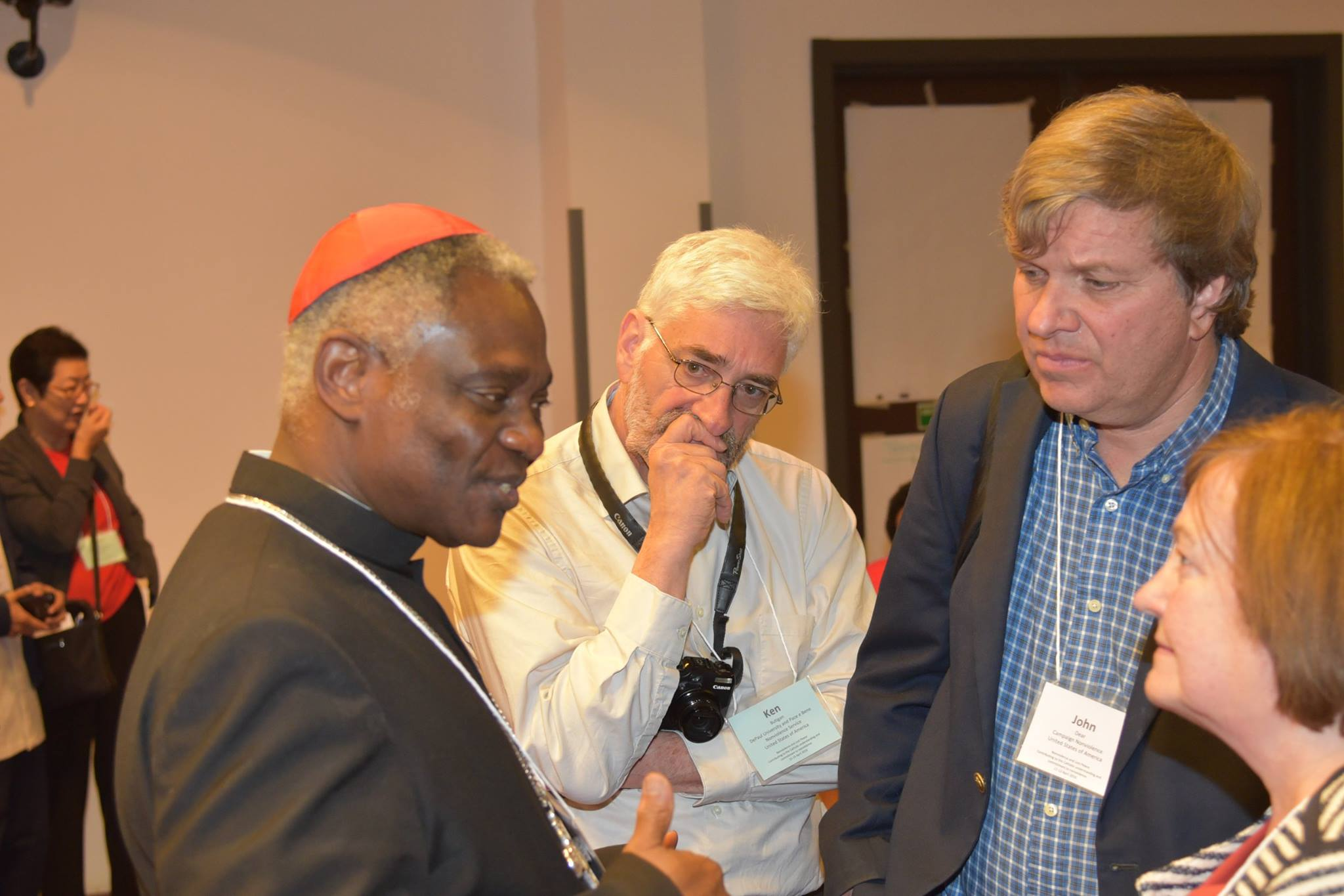 From left: Cardinal Turkson, Dr. Ken Butigan, Rev. John Dear and Nobel Peace Prize Winner Mairead Maguire