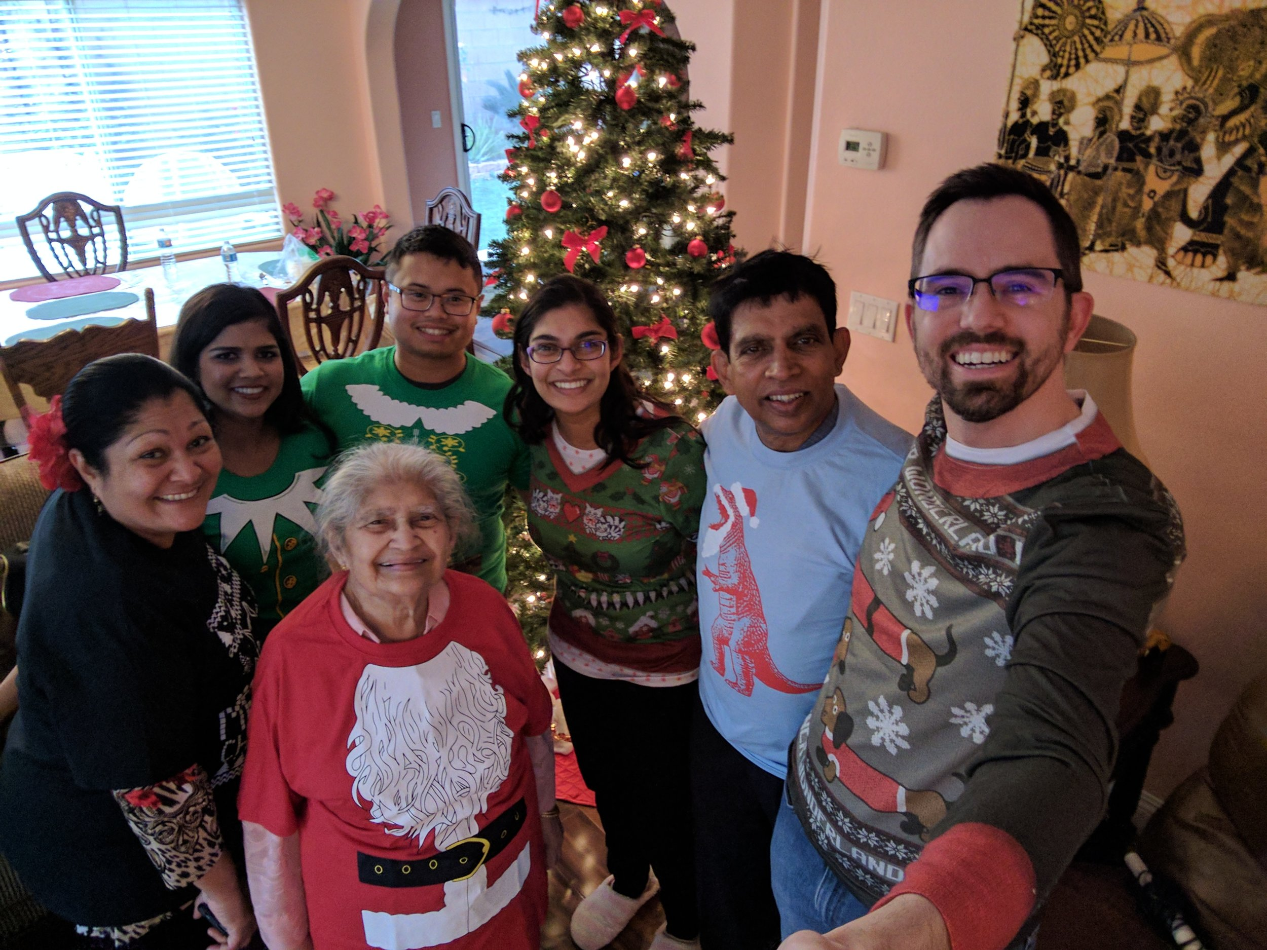 Ryan Hall and his wife Erandhi with their family at Christmas