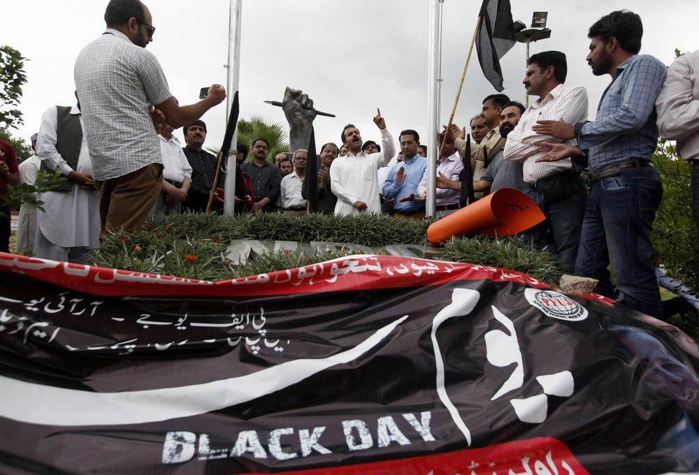 Photo credit of opening image: Pakistani journalists take part in a demonstration to denounce rampant censorship, in Islamabad, Pakistan, Tuesday, July 16, 2019. Pakistani journalists are holding nationwide protests to denounce rampant censorship by the country's powerful security services, massive layoffs due to budget cuts and months-long delays in payments of their wages. (   AP Photo/Anjum Naveed   )