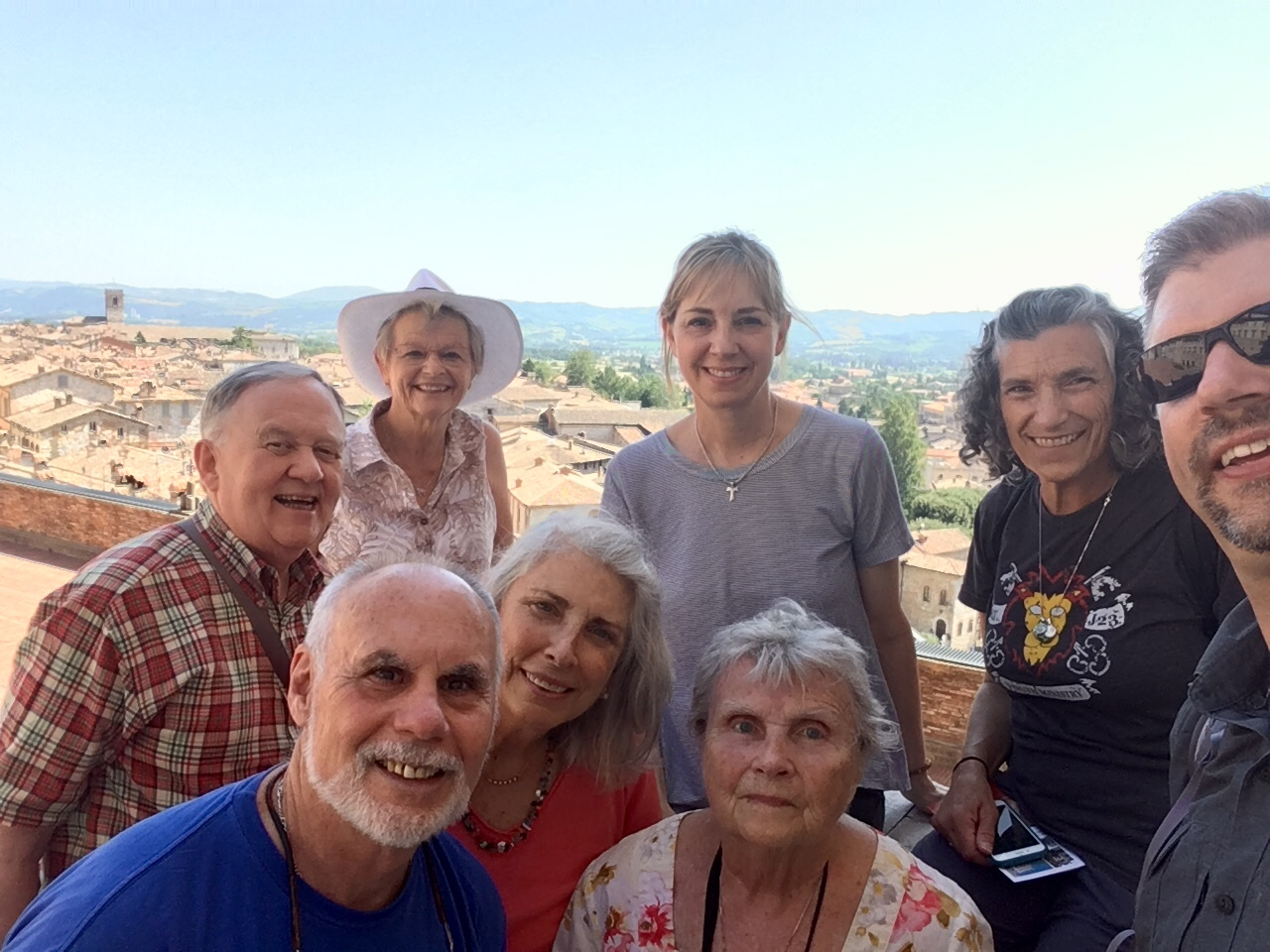 Michele in center-top with other participants during the Pace e Bene Peace and Nonviolence Pilgrimage