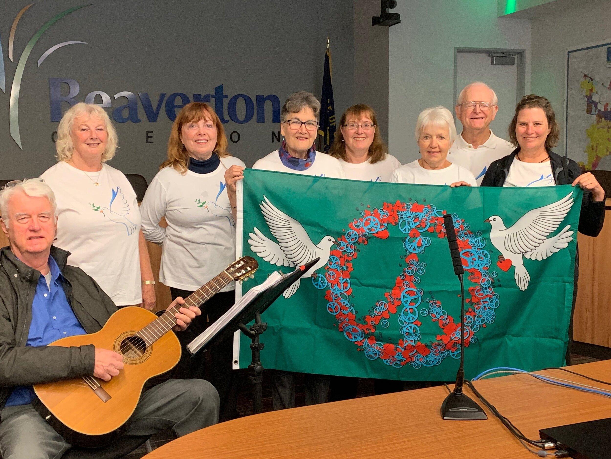 Beaverton City Hall Peace Pole Dedication. Photo by Maureen Wheeler.
