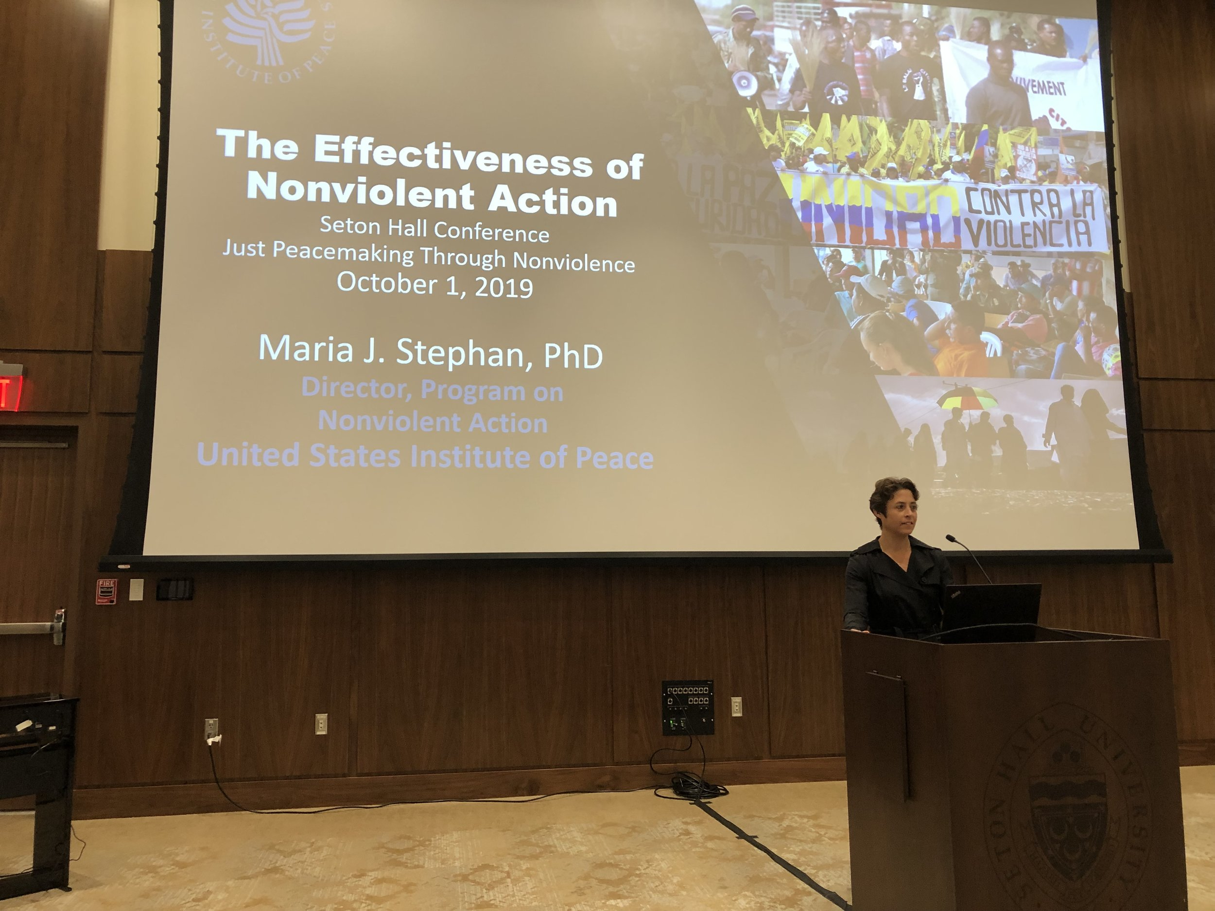 Marie Stephan shared the quantitative research she and Erica Chenoweth did showing that nonviolent action strategies are twice as effective as violence one.