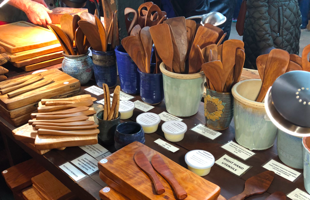 Selection of flatware including butter knives with serving boards, stirrers and mixers and risotto paddles. Most pieces have a left hand option.