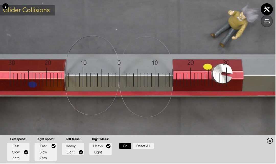 Students can select the masses and speeds of the gliders to try to find a combination that results in unequal interaction forces.