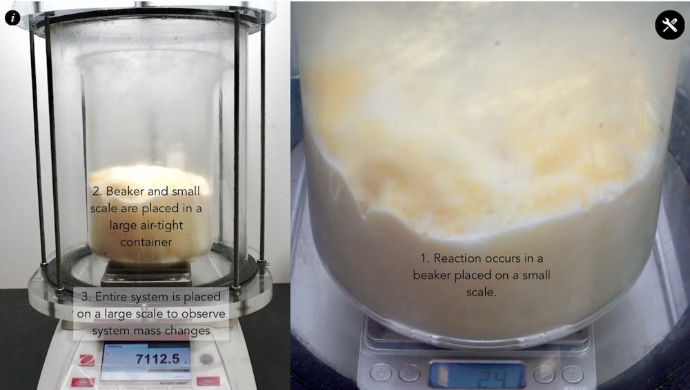 """This apparatus lets students measure changes of mass of the solids and liquids in the reaction, but also measure the mass of the entire system. In the photo above, students make measurements of mass changes for the """"Elephant Toothpaste"""" reaction, but the Pivot Interactives activity also allows students to explore burning steel wool, and to see how that reaction differs in the presence of different gases, oxygen, carbon dioxide, and air."""