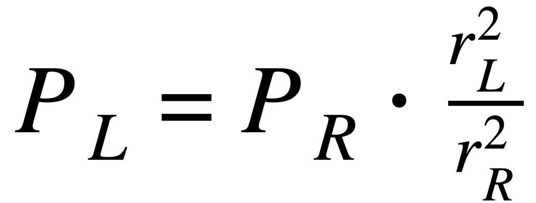 This equation allows students to express the light power emitted from one light source to another. Students measure the position of the Joly photometer when both sides are equally illuminated.