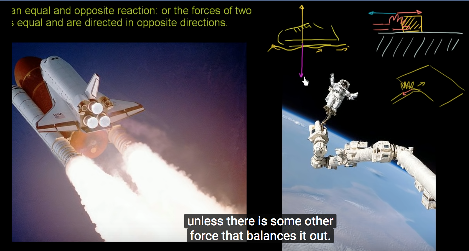 Here's a video lecture on  Newton's Third Law of Motion  again from Khan Academy. Years of science education research confirms that lecture teaching does not help students overcome preconceptions that are common with this topic.