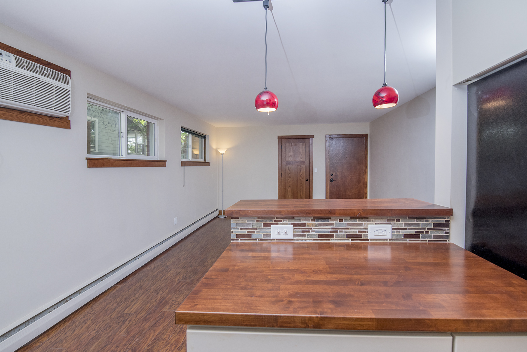 Open concept living room flows in to kitchen