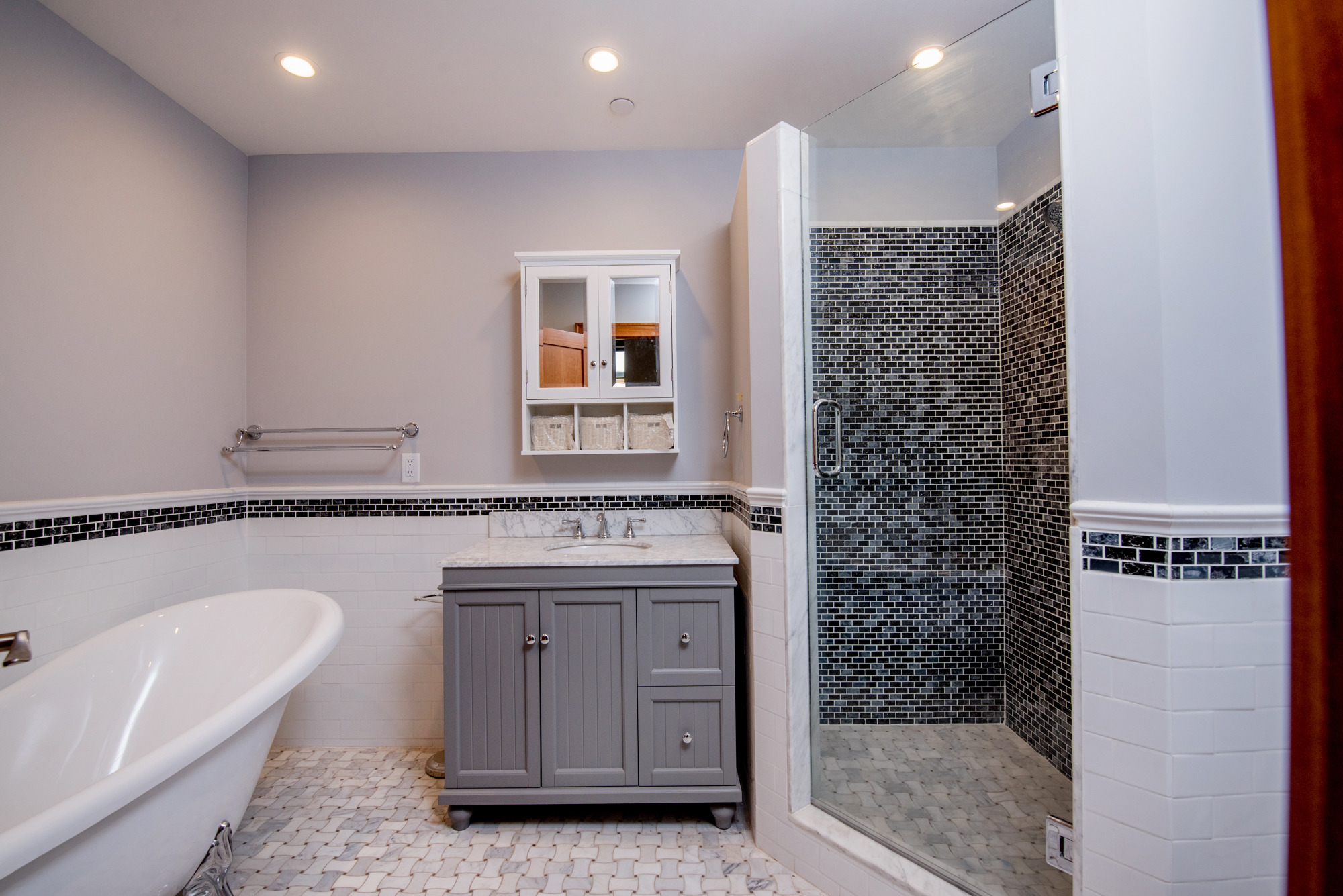 Ceramic, glass and marble tile bathrooms