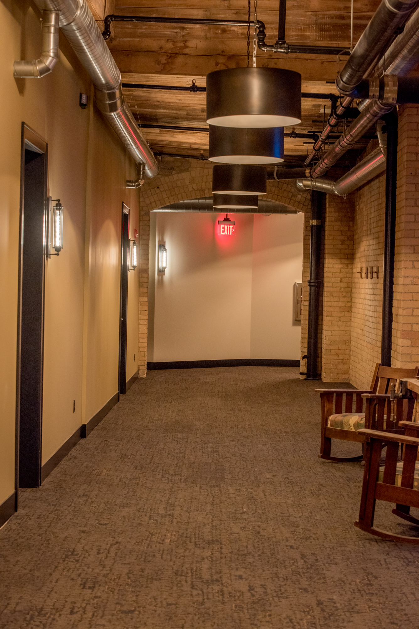 Wide, open and beautifully lit hallways  and staircases