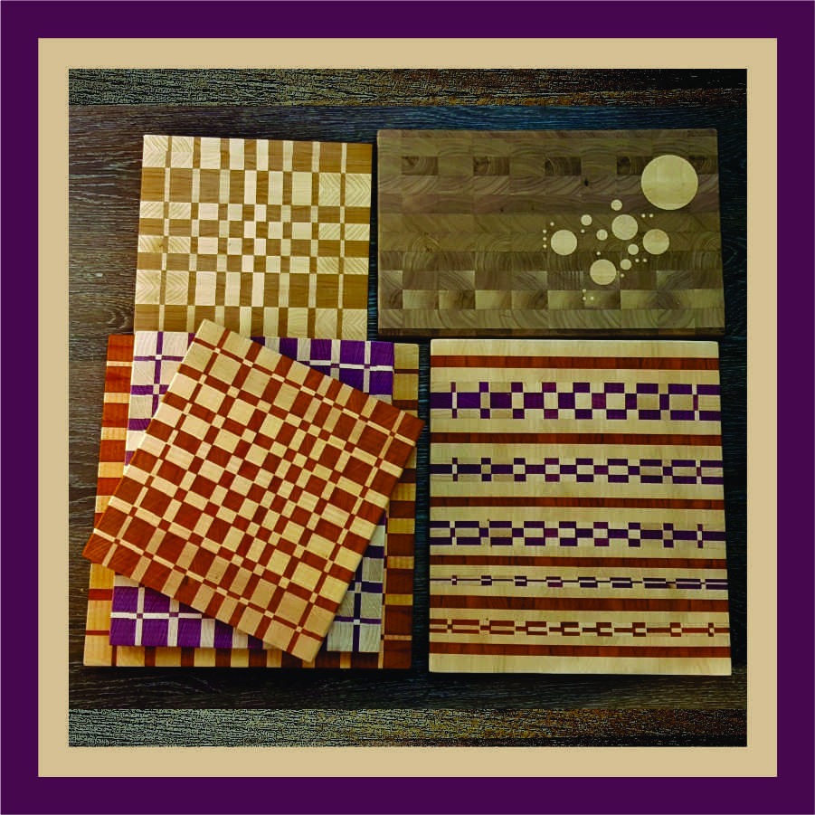 End-grain cutting/ cheese/ charcuterie boards unique in design and superior in craftsmanship. These beauties make thoughtful gifts for any occasion. Custom engraving available.