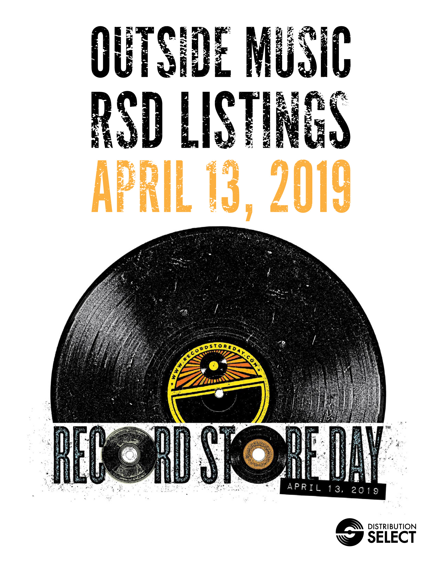 Outside Music New Release Book: RSD April 13, 2019 - To view online, click the book icon.To save the book to your computer, right click save as…RSD APRIL 13, 2019 ORDER FORM