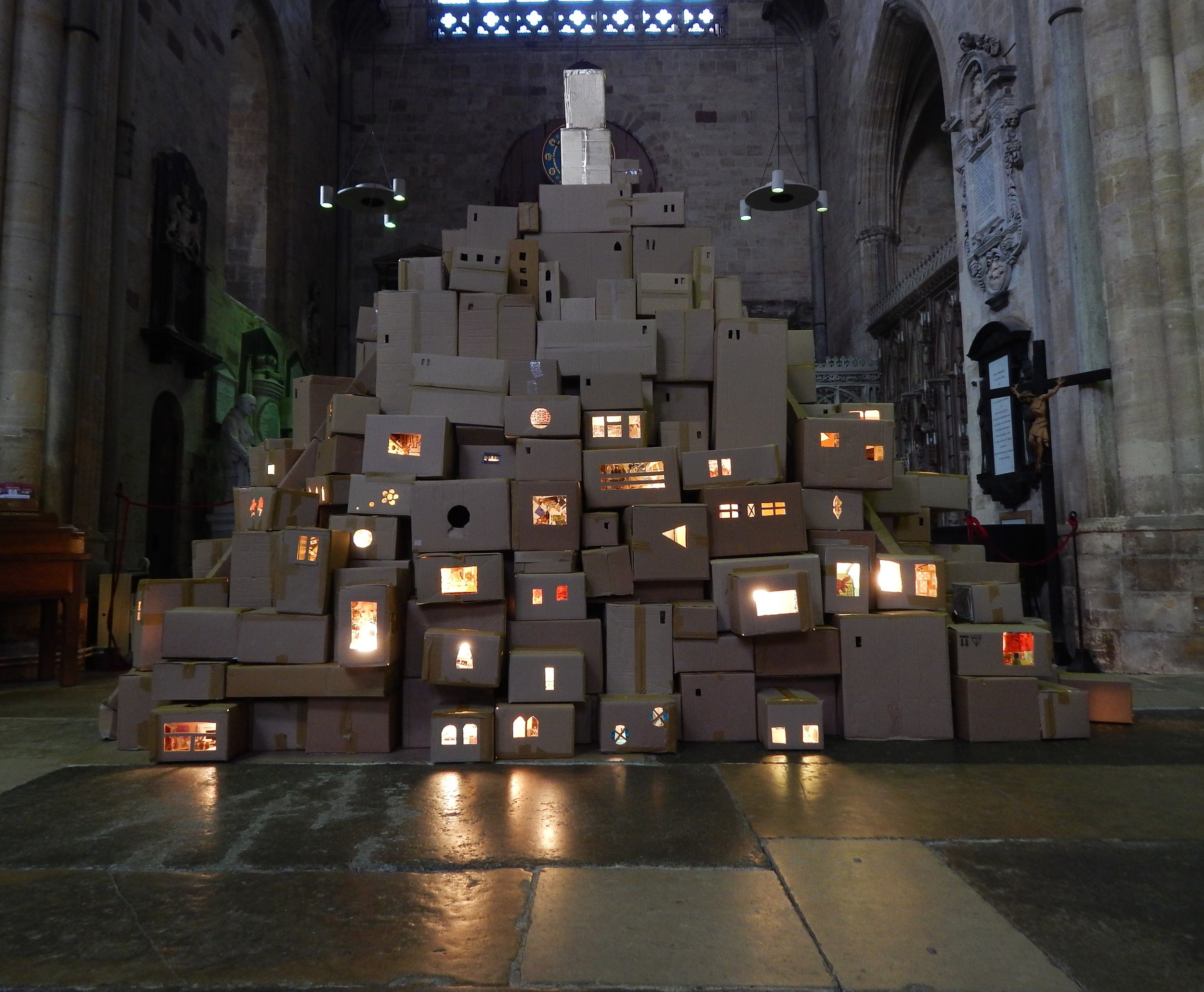 Robin Doyle's 'We Built This City', exhibited at Exeter Cathedral during Art Week 2018. Photo by Jez Winship.