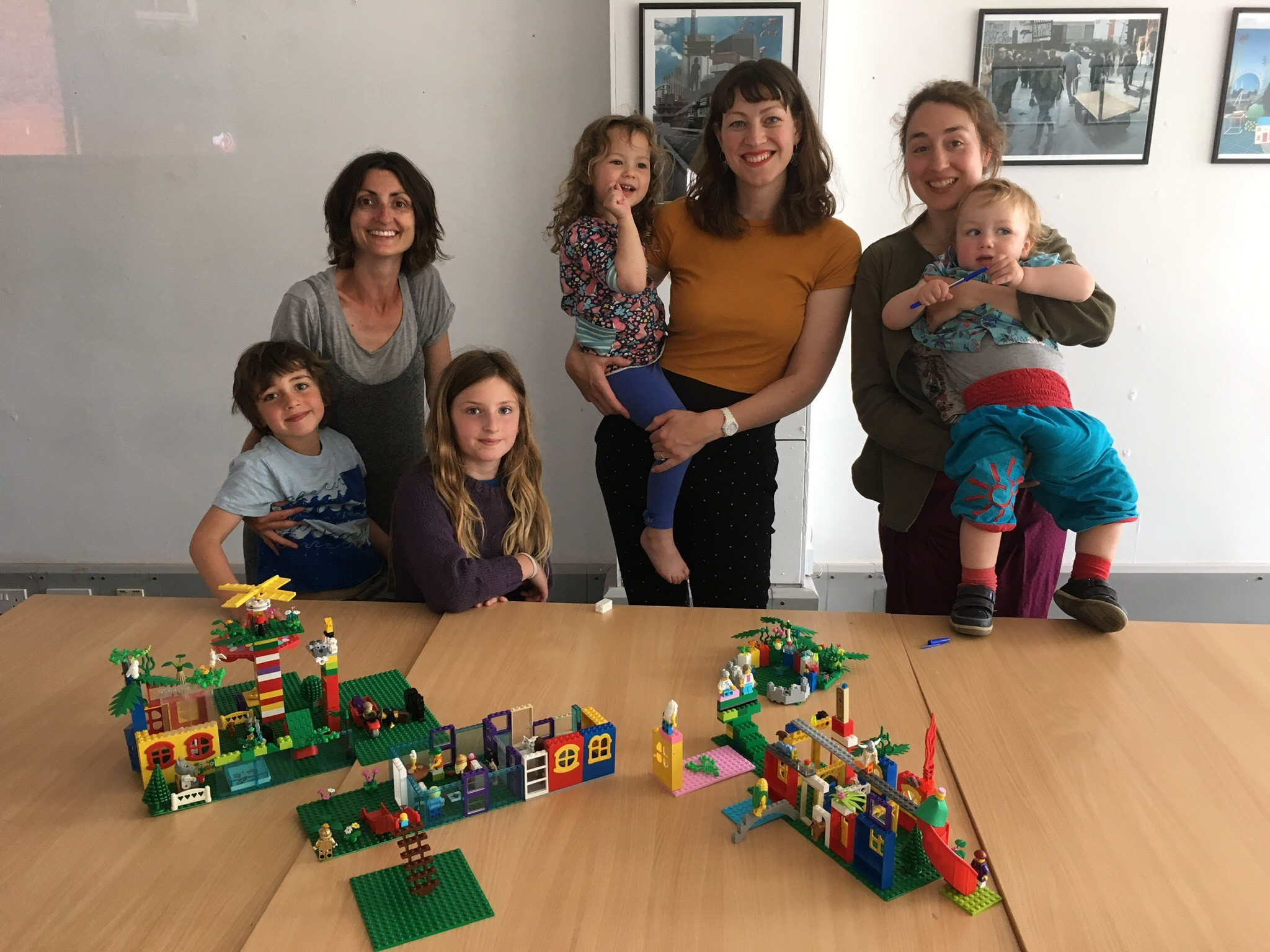 Mothers Who Make taking part in a Speculative Supermodels workshop in Exeter. Left to right: Natalie Stone and children, Lizzy Humber and daughter, Jenny Cahill and son.