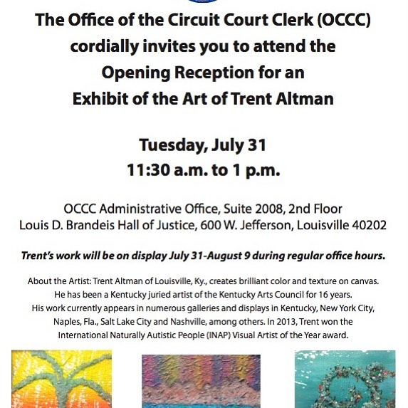 Congratulations to 2012 Genius of Autism honoree #trentaltman, who will have his artwork displayed at an exhibit in Louisville, KY from July 31-August 9!  _ #mccartonfoundation #autism  #autismawareness  #autismacceptance #louisville  #louisvilleky  #mccarton