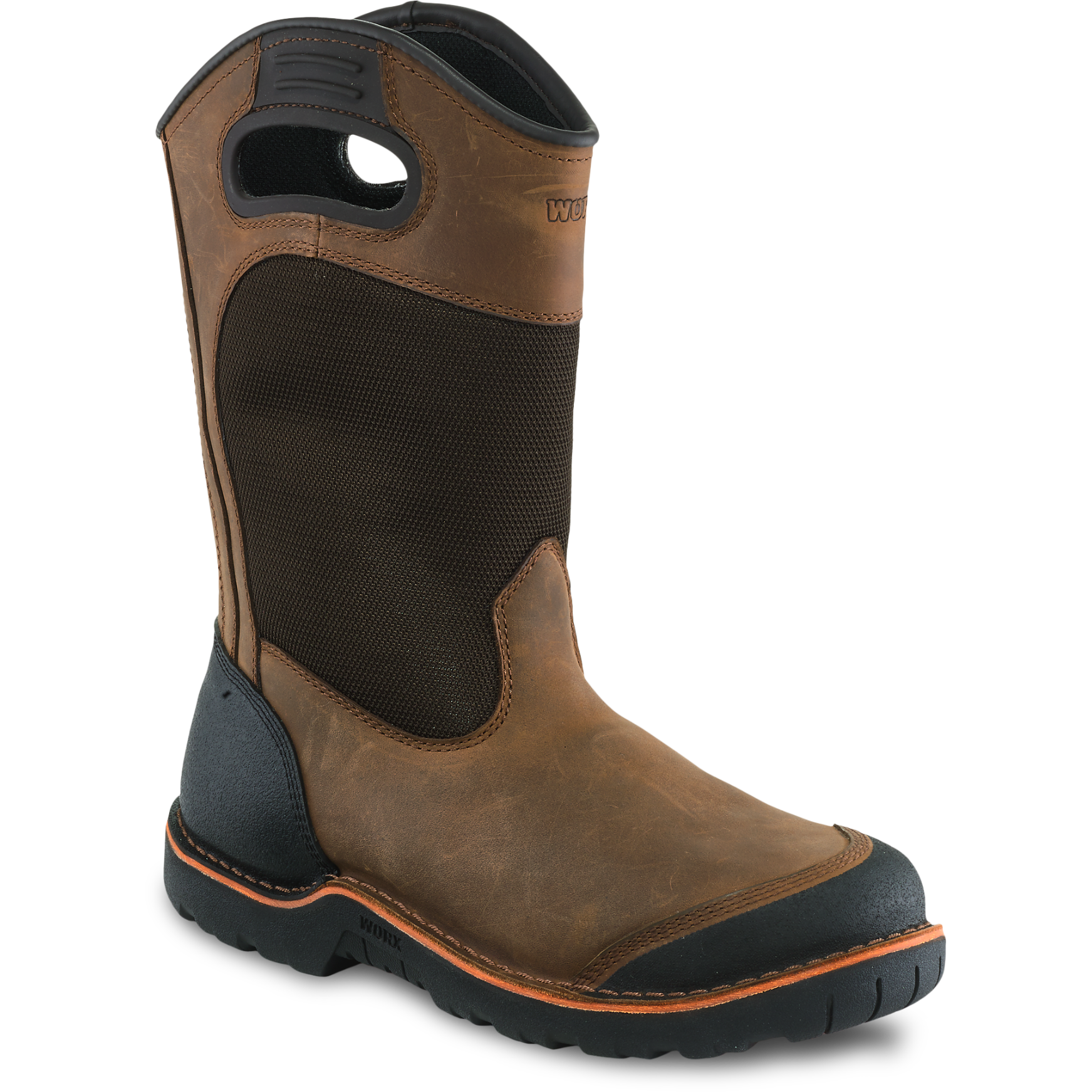 Worx 5715 - 11 Inch Pull On Boot Brown  Steel Toe - Electrical Hazard - HRO Heat Resistant  Click here for specifications