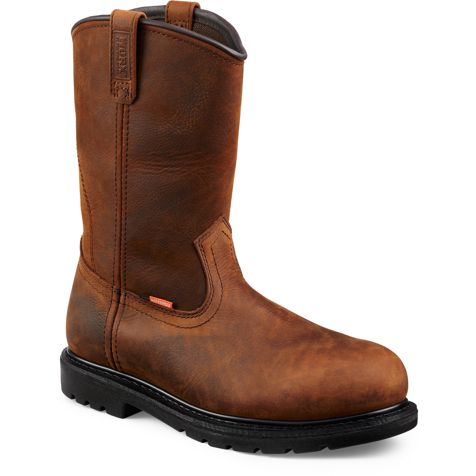 Worx 5700 - 10 Inch Pull On Boot Brown  Steel Toe - Waterproof - Electrical Hazard  Click here for specifications