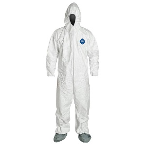 DUPTYI27S - TYVEK COVERALL WITH HOOD  Tyvek garments are composed of flash spun high density polyethylene which creates a unique, nonwoven material available only from DuPont. Tyvek provides an ideal balance of protection, durability and comfort of any limited use fabric technology. Tyvek fabric offers an inherent barrier to small size particles. Protection is built into the fabric itself; there are no films or laminates to abrade or wear away. Tyvek fabric's durability advantage over microporous film fabrics delivers consistently better barrier, even after wear and abrasion.