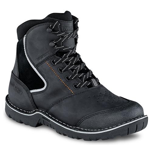 Worx 5128 - Women's 6-inch Boot Black  Steel Toe - Electrical Hazard - Waterproof Women's Specific Fit - HRO Heat Resistant  Click here for specifications