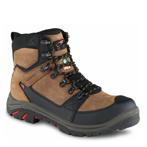 Red Wing 3519 - Men's 6 Inch Boot Brown  Electrical Hazard, Non-Metallic Toe, Puncture Resistant, Waterproof, Red Wing Leather, HRO Heat Resistant, Lenzi  Click here for specifications