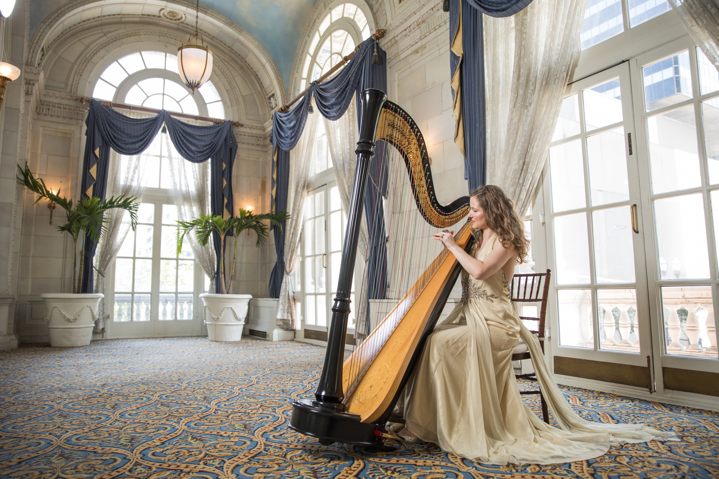 Imagine:Your grand entrance - As your guests are brought the attention by harp glissandos that announce your arrival as you float down the aisle, all eyes on you.