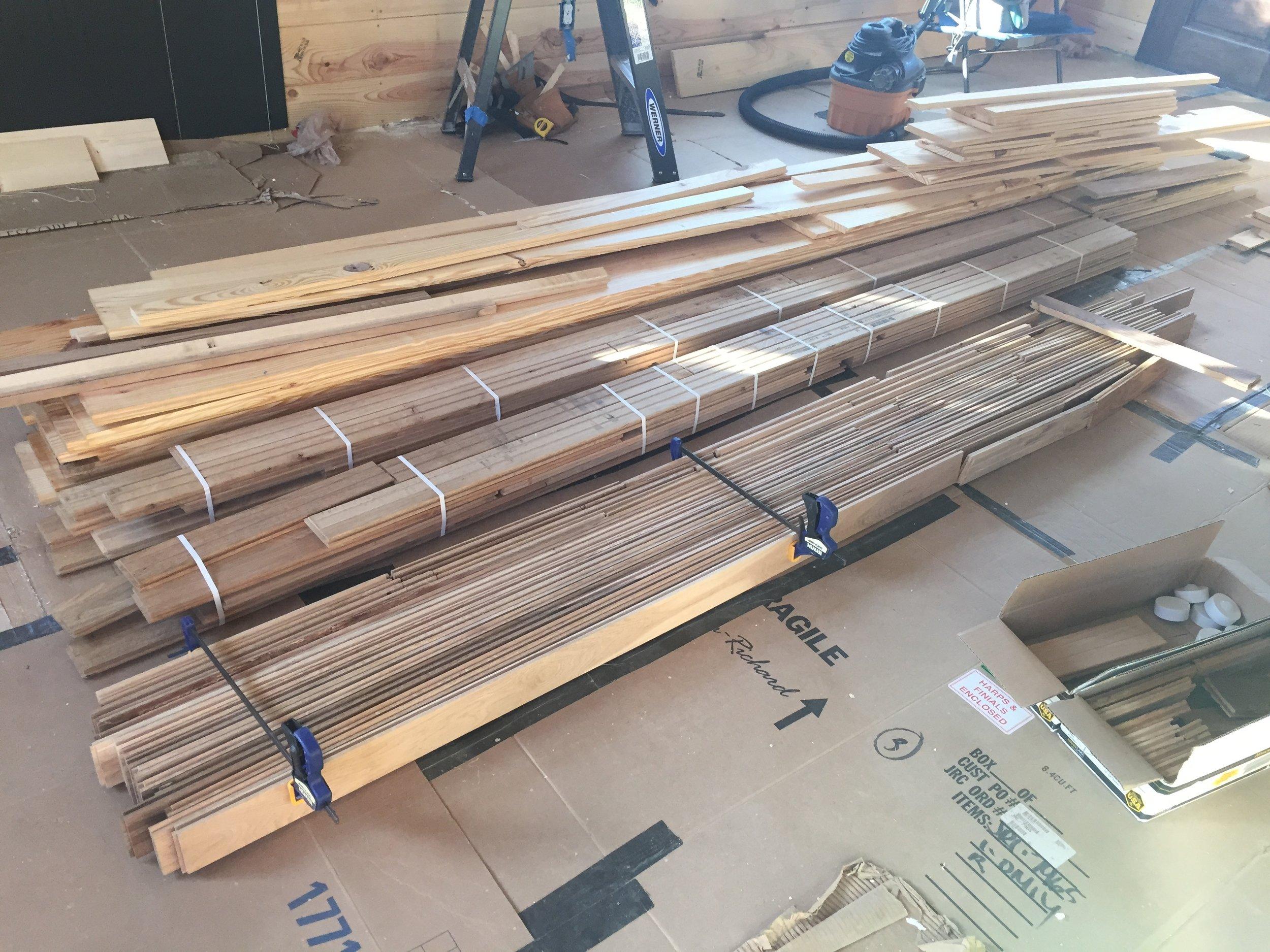 Using left over hardwood flooring for the kitchen countertops