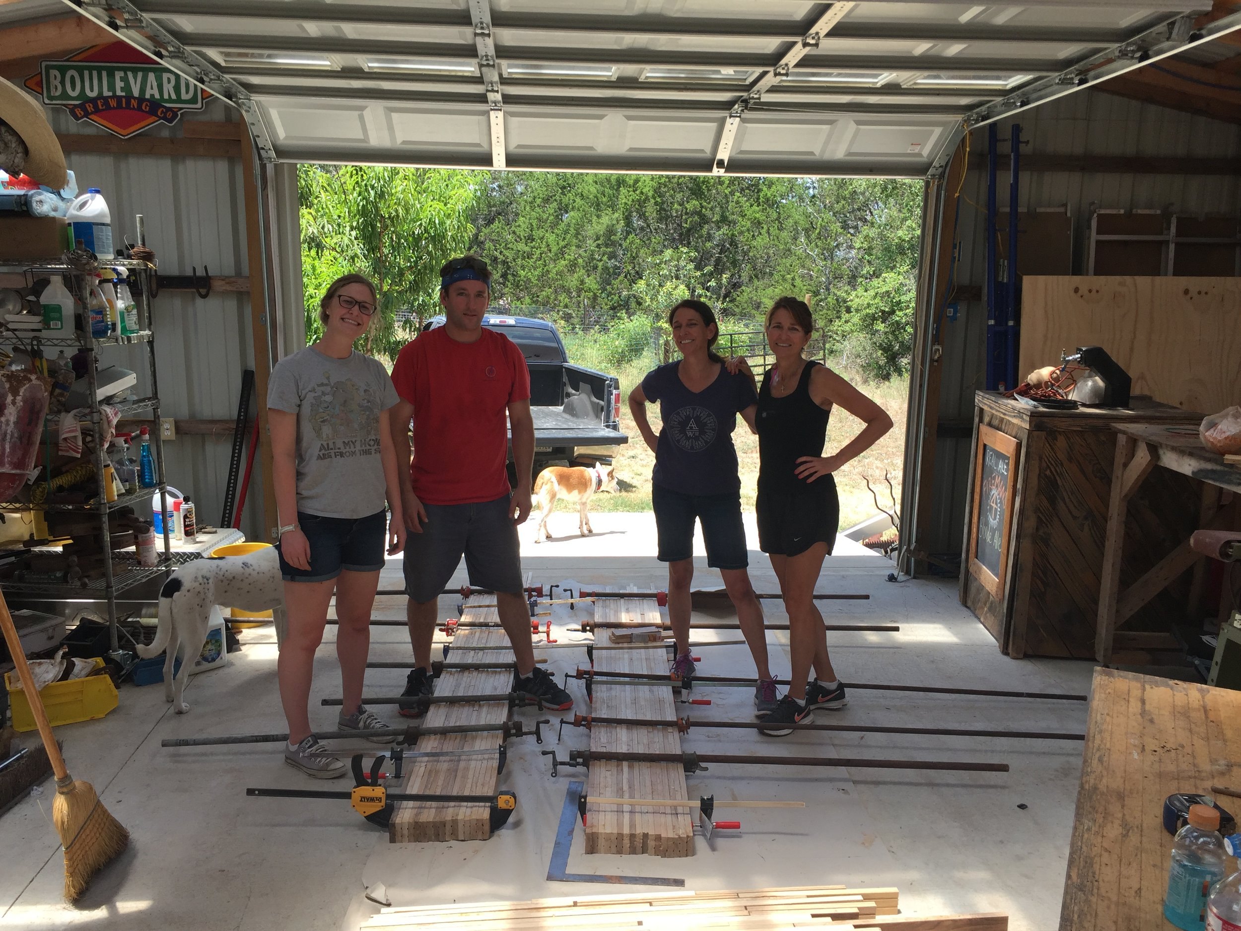 The Crew after we glued and clamped the hardwood countertops