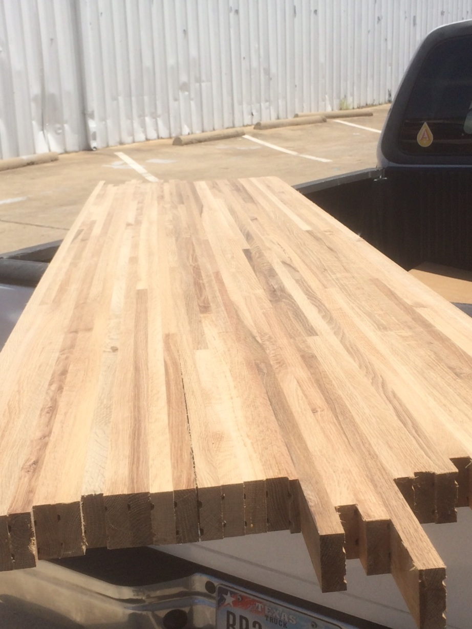 The wood countertops laying on the back of the truck