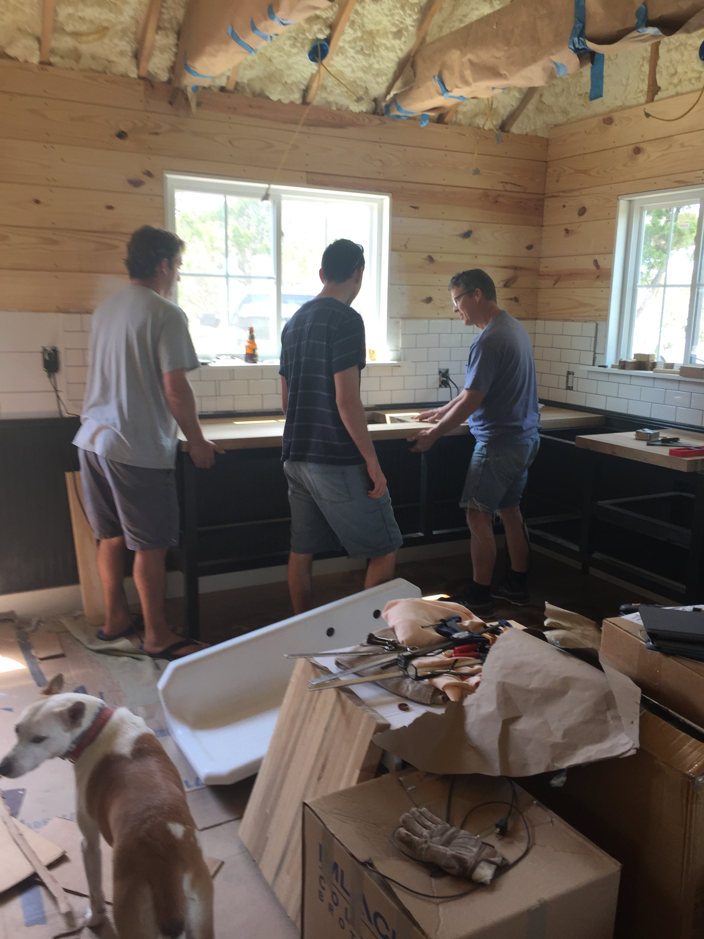 Installing the wood countertops