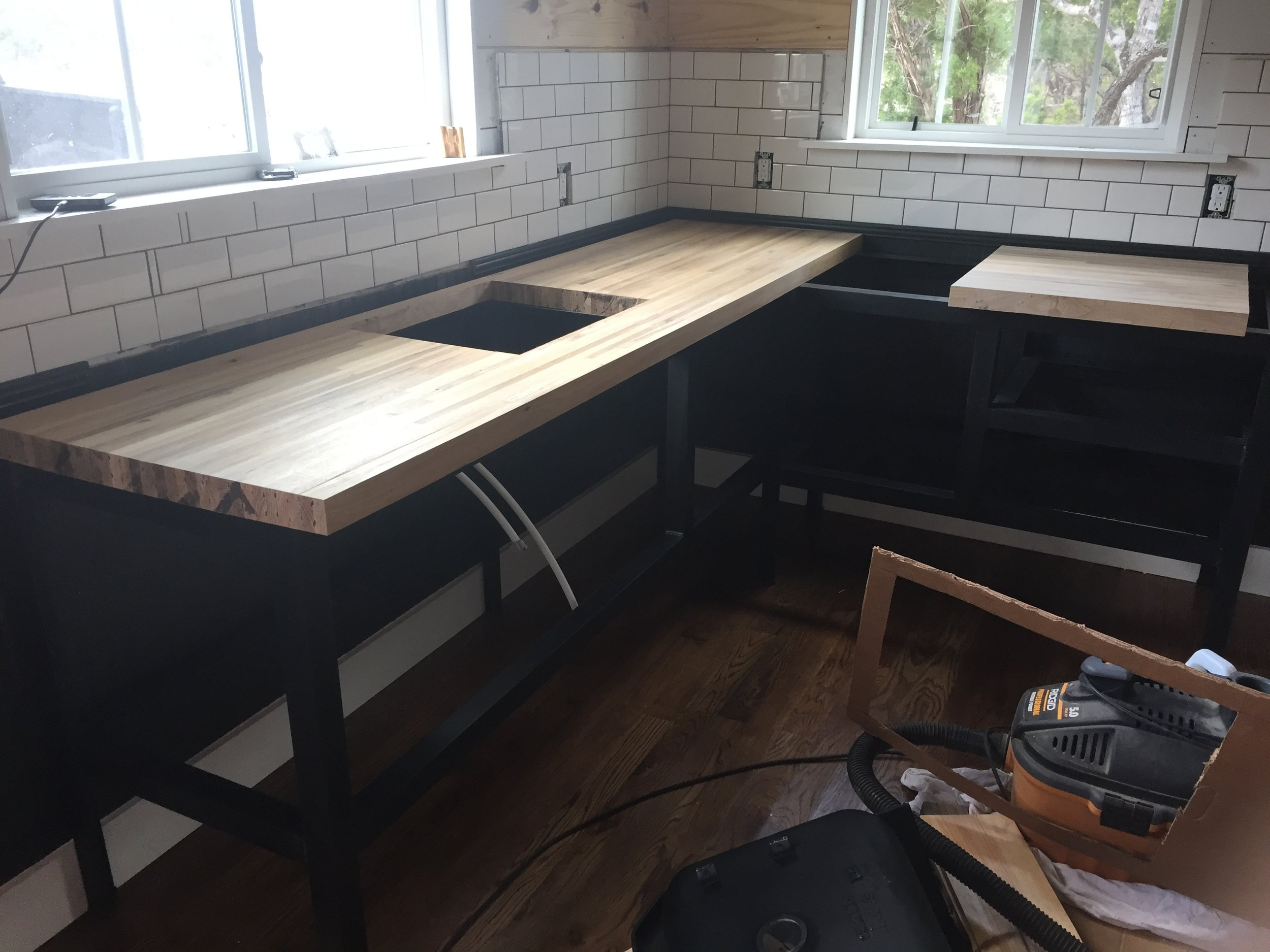 countertops being installed