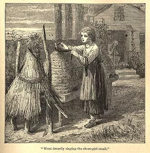 Young girl draping the beehive in black