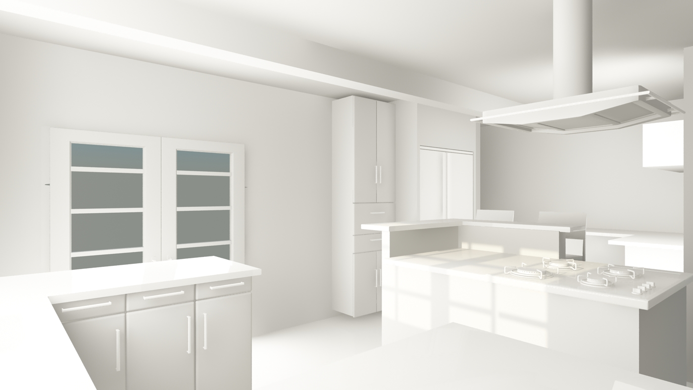 "Rendering showing the ""interior"" of the re-configured kitchen"