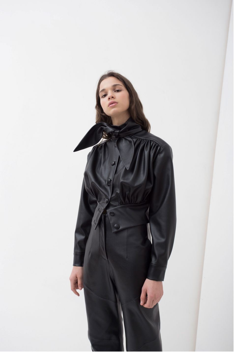 Bow Neck Leather Jacket