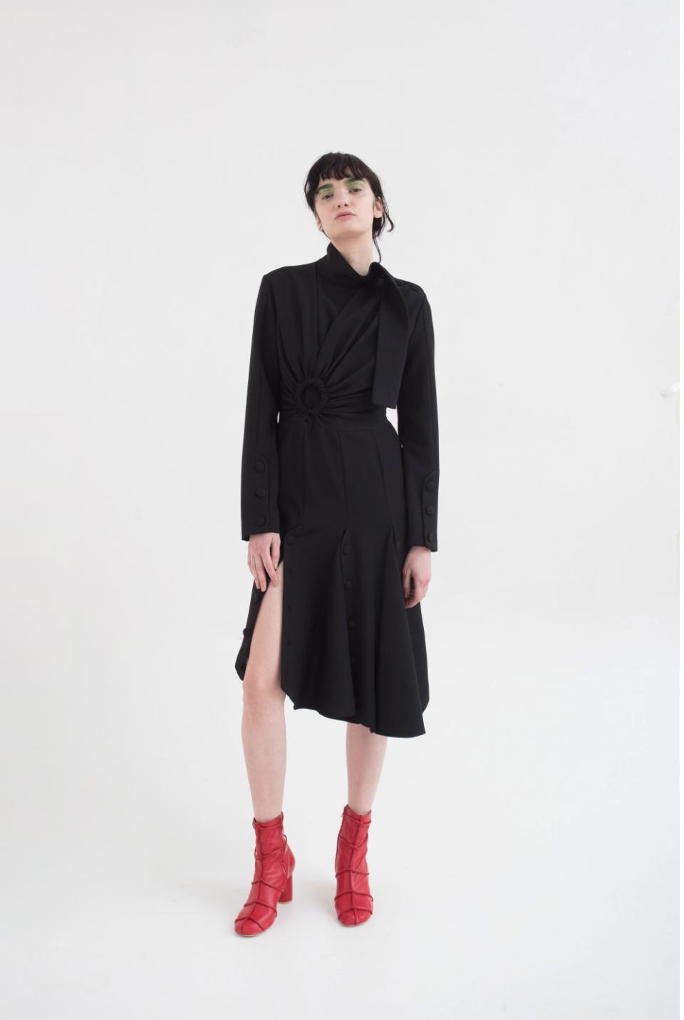 High Neck Slit Detail Dress