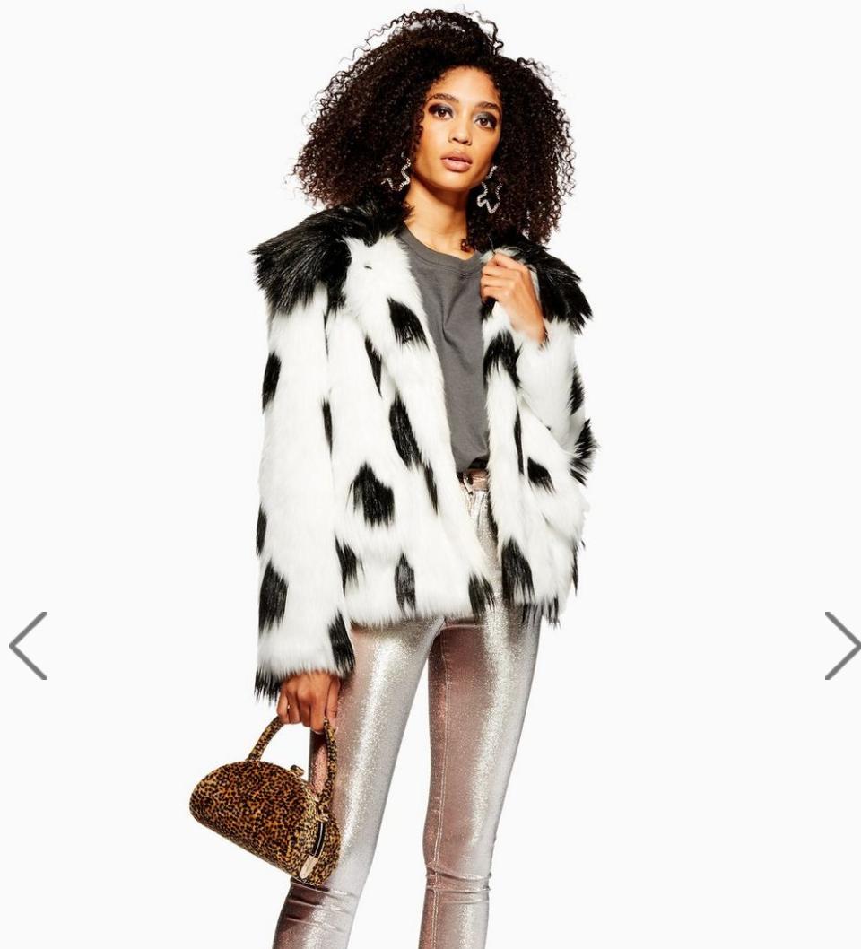 Dalmation Print Faux Fur Coat