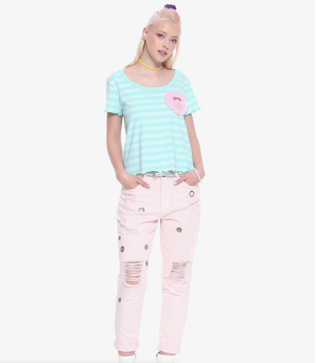 Polly Pocket Striped Lettuce Hem Shirt