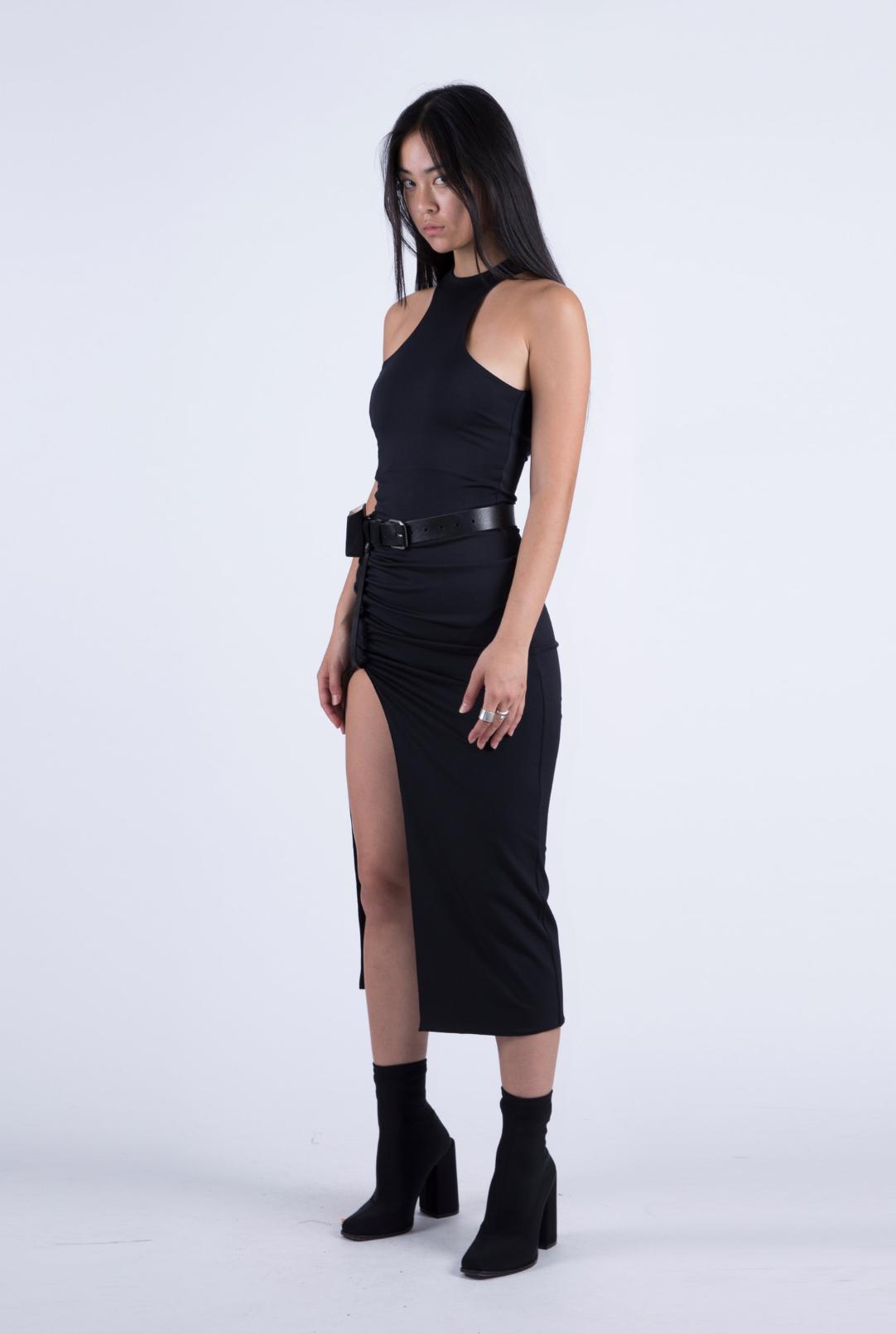 Jersey Dress W/ Leather Belt