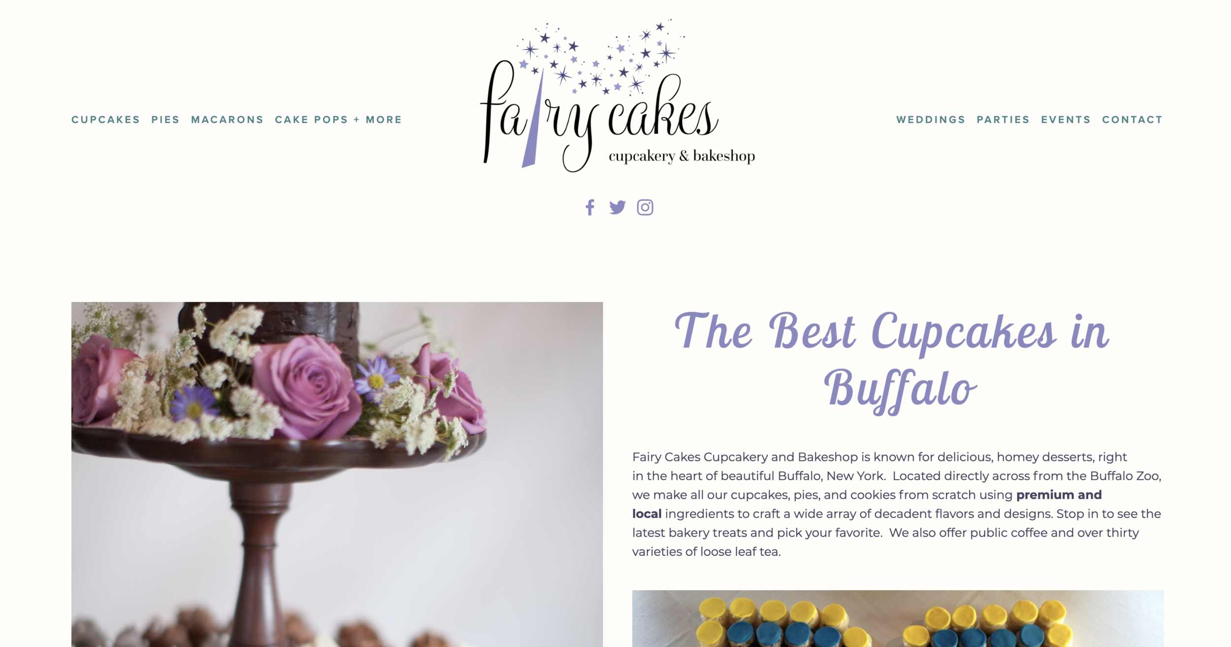 New website design of Fairy Cakes Cupcakes in Buffalo, NY by Persimmon Development